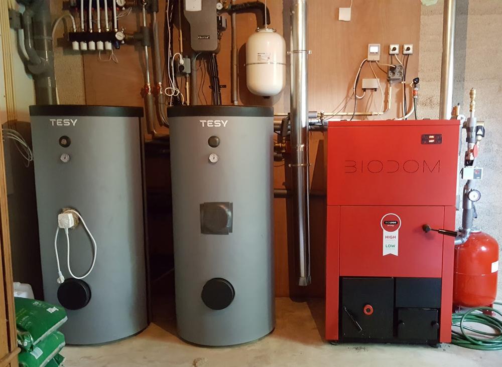 Duurzame installatie met pelletketel Biodom LX en buffervat