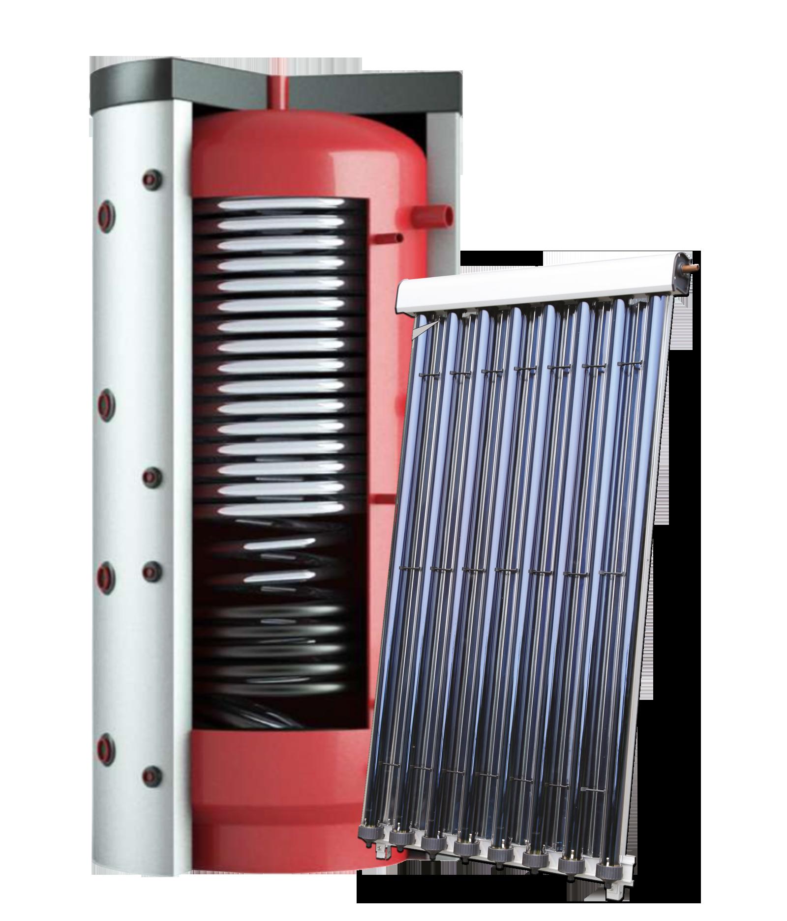 Zonneboilersysteem met Hygiëne buffervat met CPC buiscollector Eco4you
