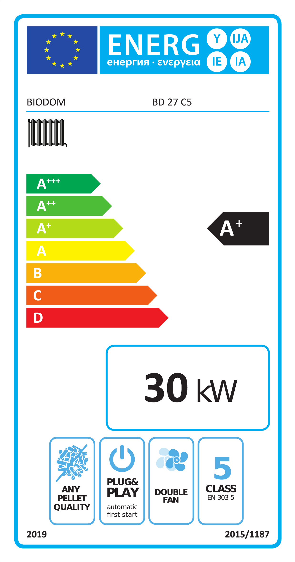 Energielabel A+ Biodom 27C5