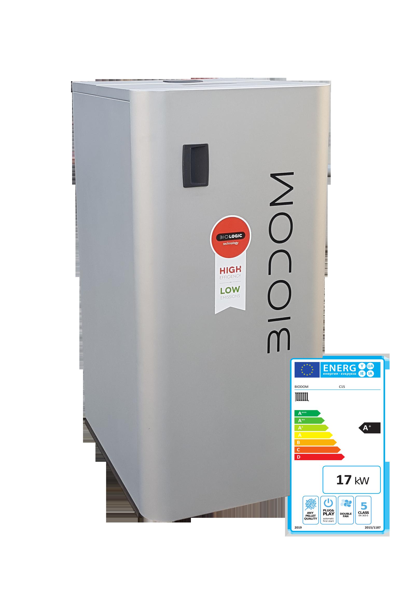 Pelletketel Biodom C15 met energielabel A+